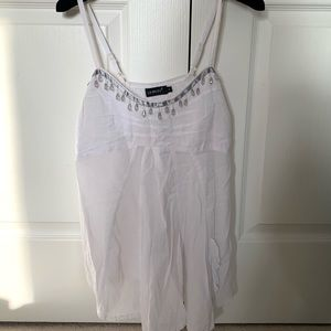 Lili Bleu white linen beaded tank top size S